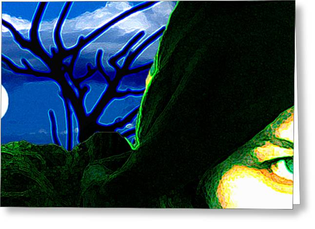 Samhain Greeting Cards - Eye of the Witch Greeting Card by Catherine Geernaert
