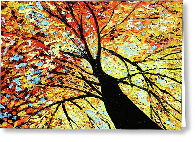 Fall Trees Paintings Greeting Cards - Fall Tree Oil Painting Greeting Card by Beata Sasik