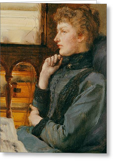 Lost In Thought Paintings Greeting Cards - Far Away Thoughts Greeting Card by Sir Lawrence Alma-Tadema