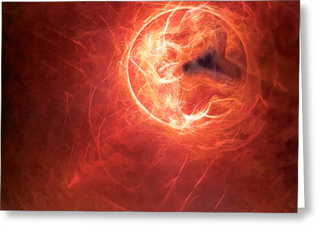 Fractal Orbs Greeting Cards - Fire Moon Greeting Card by Scott Norris