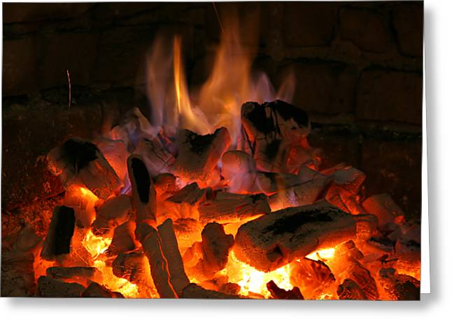 Recently Sold -  - Engulfing Greeting Cards - Fireplace Flames Greeting Card by Francisco Leitao