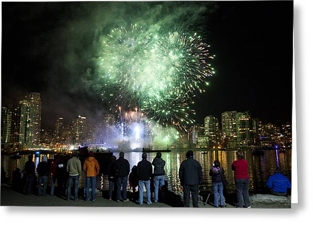 Fireworks Go Off During The Olympics Greeting Card by Taylor S. Kennedy