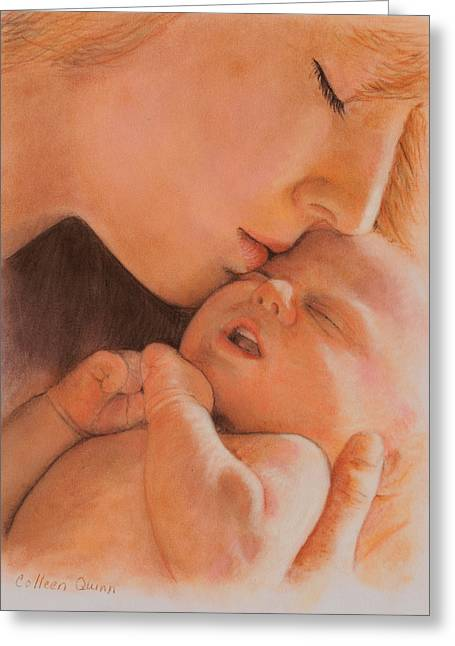 Baby Pastels Greeting Cards - First Moment Greeting Card by Colleen Quinn
