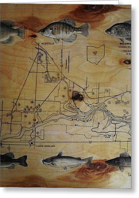 Bass Fish Mixed Media Greeting Cards - Fish Map Greeting Card by Robert Cunningham