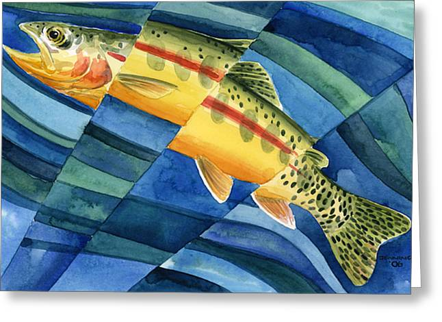 Golden Trout Greeting Cards - Flickering Gold Greeting Card by Mark Jennings