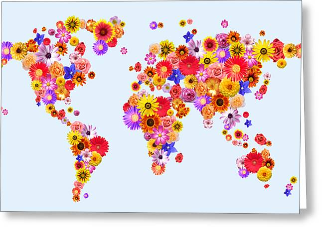 Flower World Map Greeting Card by Michael Tompsett
