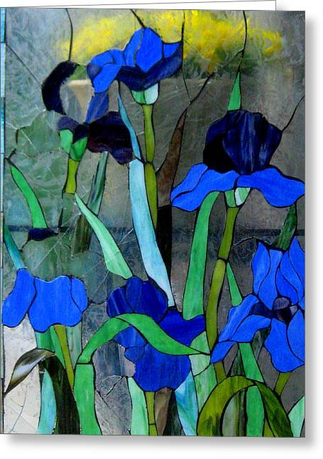Stainglass Greeting Cards - Flowers Of Glass Greeting Card by Allen n Lehman
