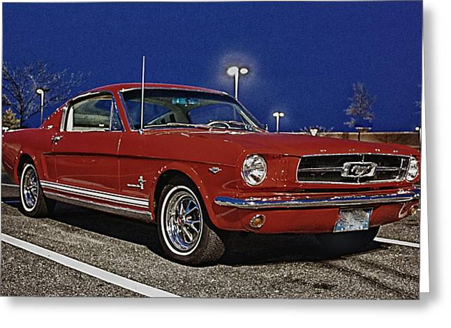 Hdr Photos Greeting Cards - Ford Mustang Red Classic Fastback  Greeting Card by Pictures HDR