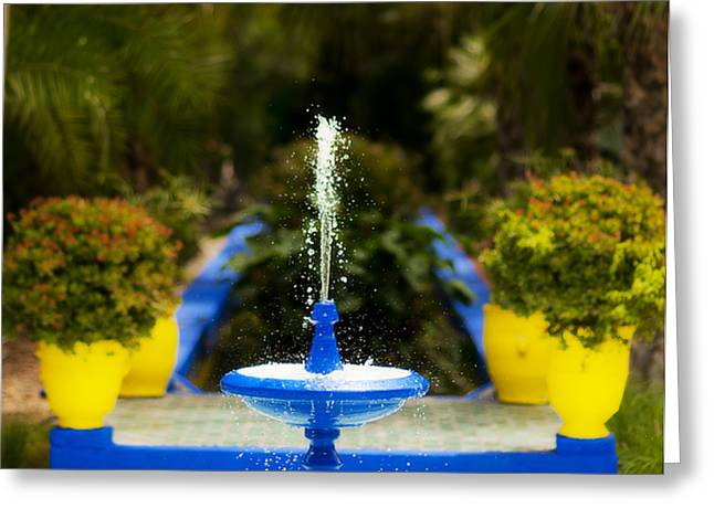 Fountain In Jardin Majorelle Morocco Greeting Card by Beth Riser