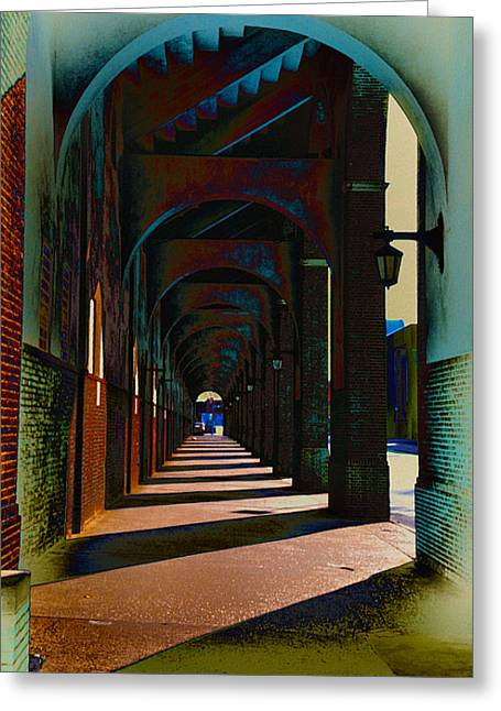 Penn Digital Art Greeting Cards - Franklin Field Concourse Arch Greeting Card by Bill Cannon