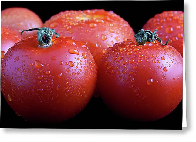Culinary Photographs Greeting Cards - Fresh Tomatoes Greeting Card by Gert Lavsen