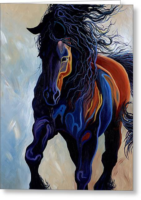 Contemporary Equine Greeting Cards - Friesian Greeting Card by Angela Hartsog