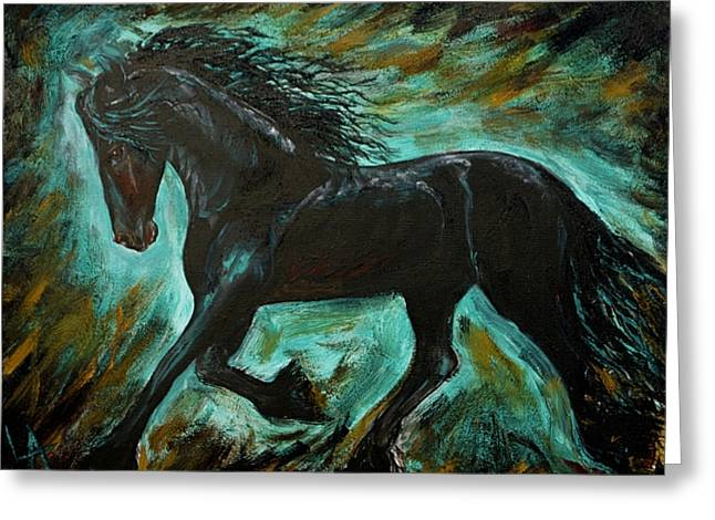 Paintng Greeting Cards - Friesian Frolic Series 1 Greeting Card by Leslie Allen