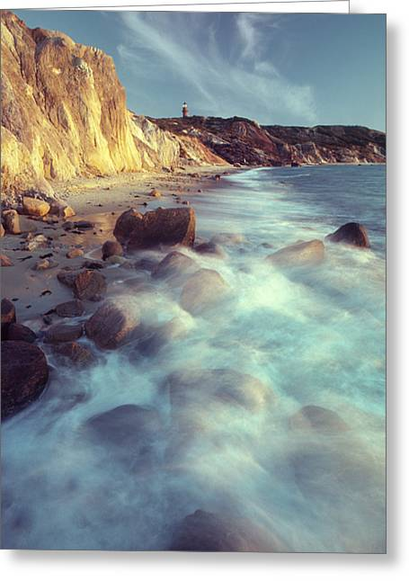 Ghostly Surf On Rocky Beach At Gay Head Greeting Card by Michael Melford