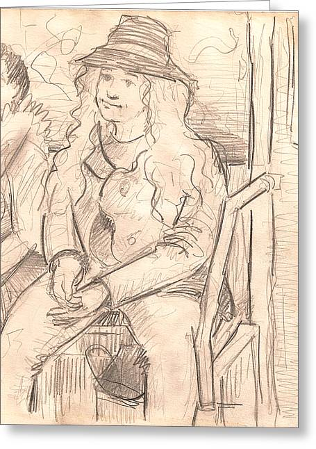 Sit-ins Drawings Greeting Cards - Girl On a Train Greeting Card by Al Goldfarb