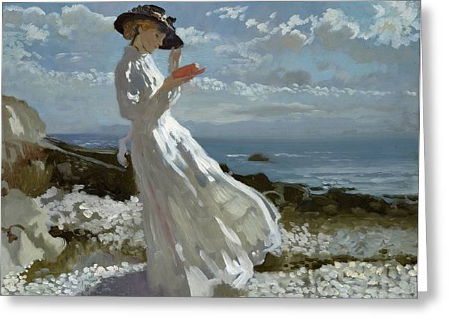 Seashores Greeting Cards - Grace reading at Howth Bay Greeting Card by Sir William Orpen