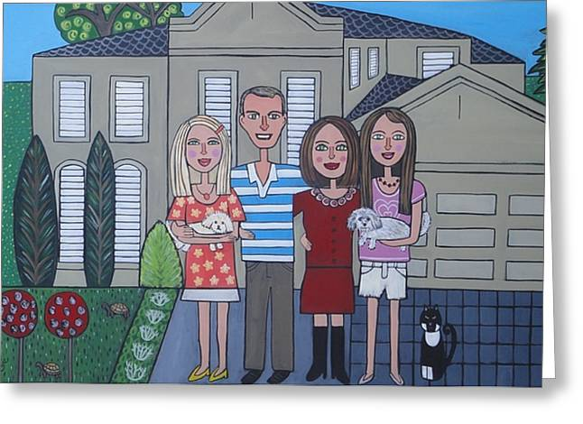Recently Sold -  - House Pet Greeting Cards - Grahams Family Greeting Card by Elizabeth Langreiter