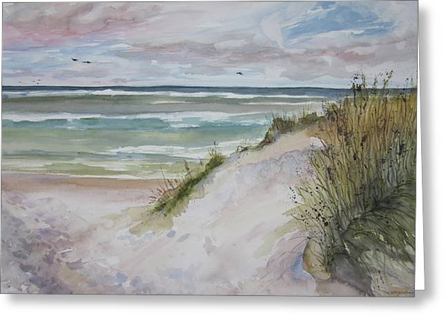 Sand Dunes Paintings Greeting Cards - Grand Haven Dune Greeting Card by Sandra Strohschein