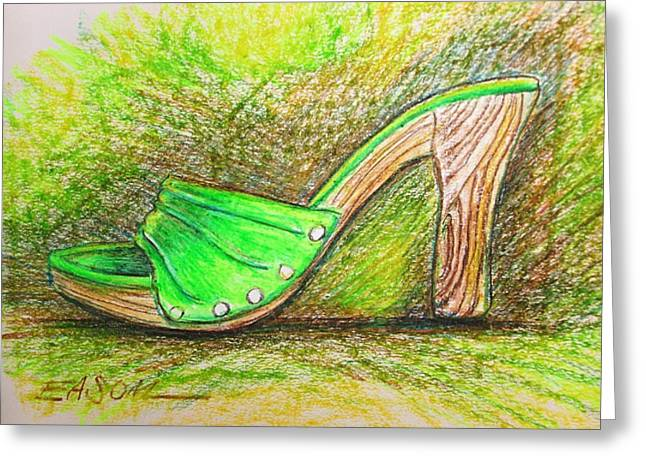 High Heeled Pastels Greeting Cards - Green Heel Greeting Card by Scott Easom