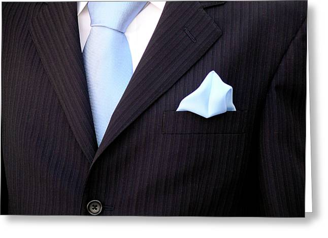 Black Tie Photographs Greeting Cards - Grooms Torso Greeting Card by Carlos Caetano