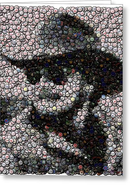 Country Schools Mixed Media Greeting Cards - Hank Williams Jr. Bottle Cap Mosaic Greeting Card by Paul Van Scott