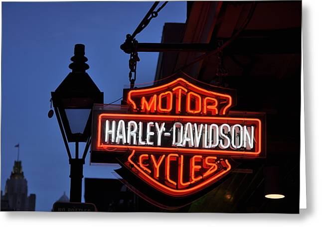 Harley Davidson New Orleans Greeting Card by Bill Cannon