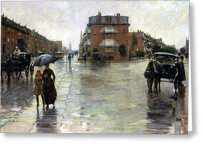 Aodng Greeting Cards - Hassam: Rainy Boston, 1885 Greeting Card by Granger
