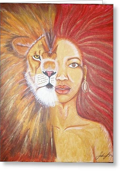 Recently Sold -  - Merging Greeting Cards - Heart of a Lion Greeting Card by Sabrina Solomon