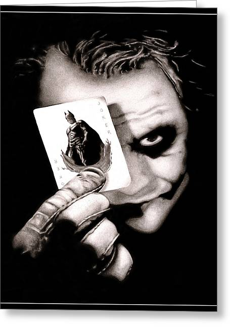 Heath Ledger Greeting Cards - Heath Ledger as The Joker Greeting Card by Kalie Hoodhood
