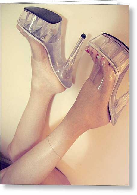 Clear Shoes Greeting Cards - Heels Over Head Greeting Card by Deelite Photography
