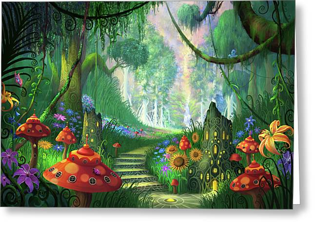 Magic Mushrooms Greeting Cards - Hidden Treasure version 2 Greeting Card by Philip Straub