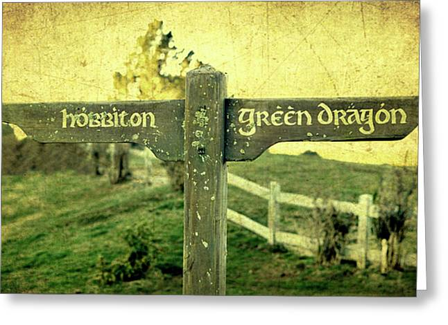 Lord Of The Rings Greeting Cards - Hobbiton Signage Greeting Card by Linde Townsend