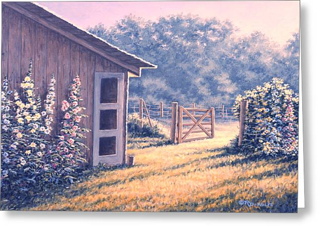 Barn Yard Greeting Cards - Holly Hocks Greeting Card by Richard De Wolfe