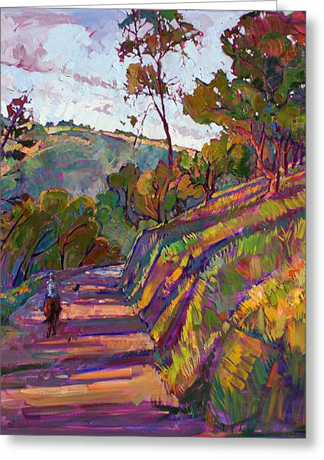 Paso Robles Greeting Cards - Horse Trail Greeting Card by Erin Hanson