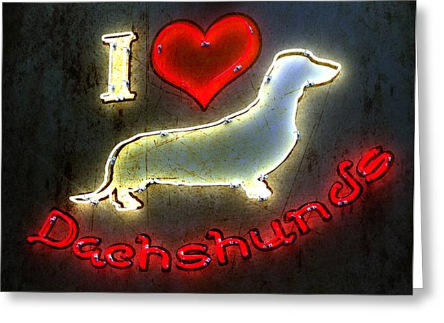 Canine Digital Art Greeting Cards - I Love Dachshunds Greeting Card by Anthony Ross