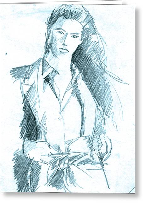 Figure Drawing Greeting Cards - Icy Blue Woman Greeting Card by John Keaton