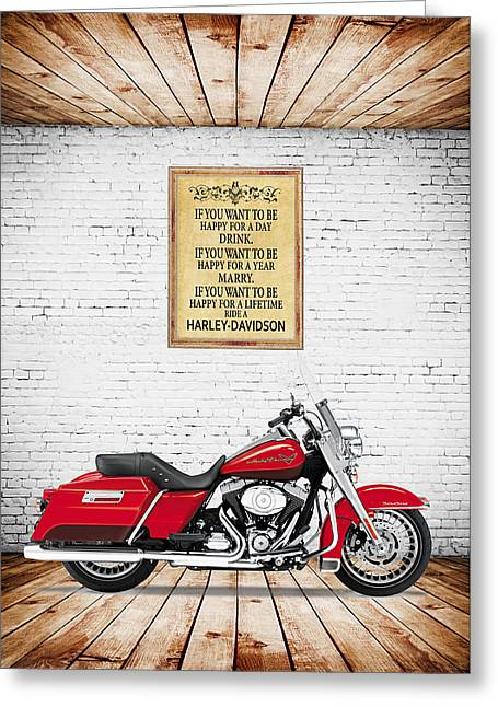 Harley Davidson Greeting Cards - If you want to be happy Greeting Card by Mark Rogan