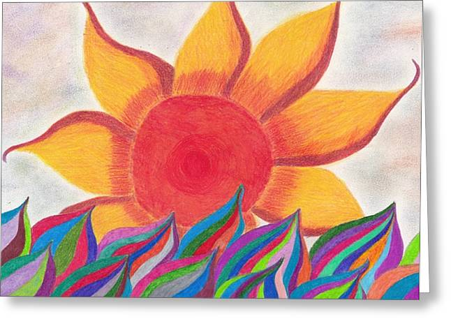 Sunset Abstract Drawings Greeting Cards - Imaginations Sun Greeting Card by Laurie Gibson