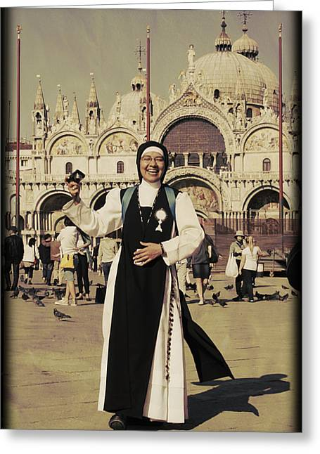 Saint Marc Greeting Cards - In god she trusts Greeting Card by Dominique Marion PEREDONE