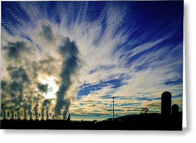 Power Plants Greeting Cards - Industry Versus The Atmosphere Greeting Card by Shutter Happens Photography