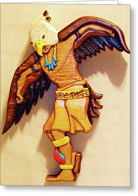 Eagle Sculptures Greeting Cards - Intarsia Eagle Dancer Greeting Card by Russell Ellingsworth