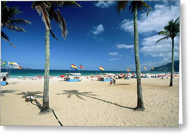 Ipanema Beach Greeting Cards - Ipanema Beach with Rainbow Flags Greeting Card by George Oze