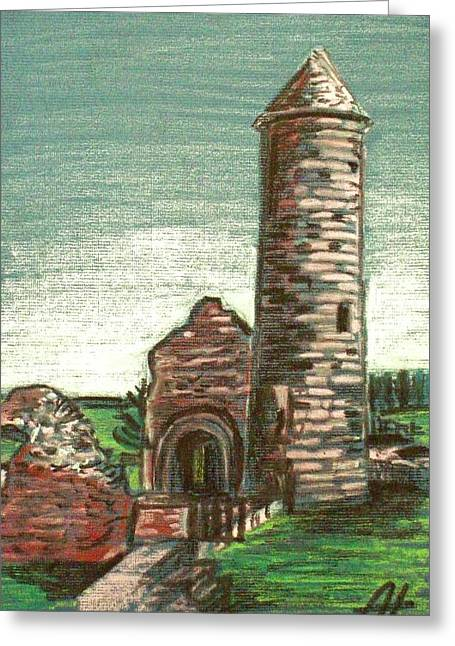 Historic Architecture Pastels Greeting Cards - Irish Round tower Greeting Card by Alan Hogan