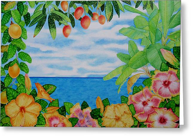 Passion Fruit Paintings Greeting Cards - Island Hibiscus Greeting Card by Joel Carlson