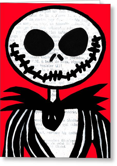 Burton Greeting Cards - Jack on Red Greeting Card by Jera Sky