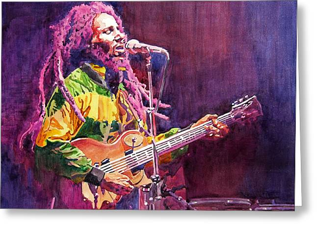 Featured Portraits Greeting Cards - Jammin - Bob Marley Greeting Card by David Lloyd Glover