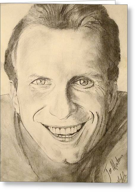 49ers Drawings Greeting Cards - Joe Montana Greeting Card by Art by AK