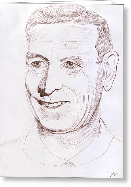 Graphite Poster Greeting Cards - John Wooden Greeting Card by Jose Valeriano