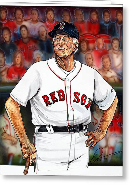 Mlb Drawings Greeting Cards - Johnny Pesky  Greeting Card by Dave Olsen
