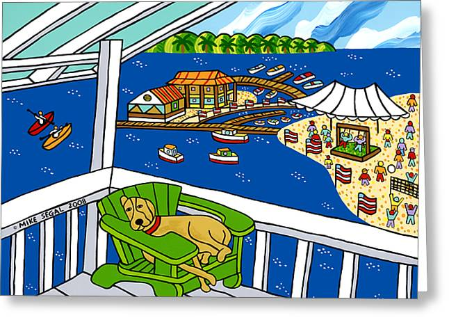 July 4th Snoozer - Cedar Key Greeting Card by Mike Segal